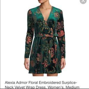 Embroidered Velvet Wrap Dress